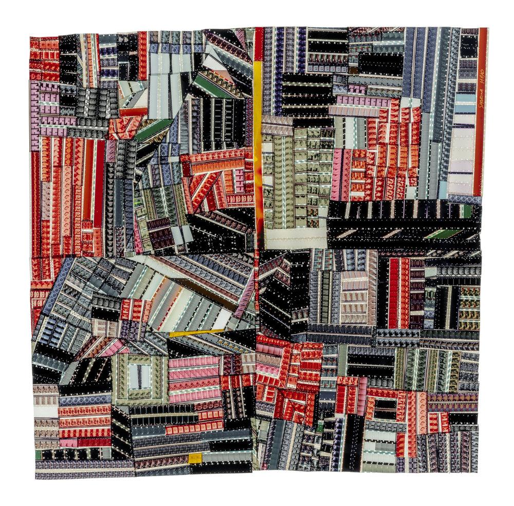 "Sabrina Gschwandtner,  Hands at Work Crazy Quilt (for Roderick Kiracofe) , 2017,16 mm polyester film, polyester thread,Framed: 27 1/8"" x 27 5/8"" x 3"""