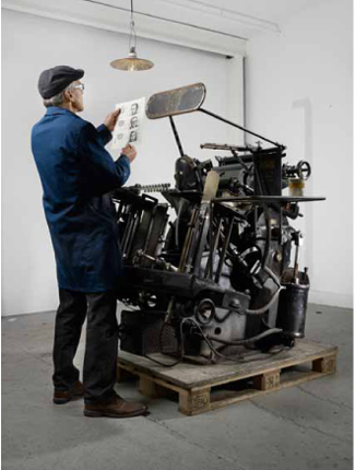 Deutscher Franken   Heidelberger Tiegel, Pergament, Druckfarbe   Performance von Ruedi Staub   Masse variabel   2011
