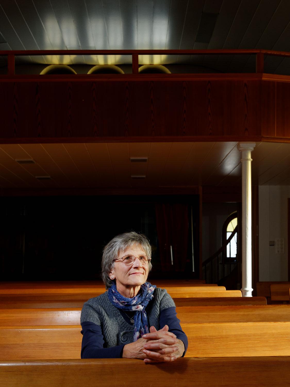 Nicole Oberli, Eglise évangélique libre, Reconvilier, le 3 décembre 2013. Copyright Bertrand Cottet