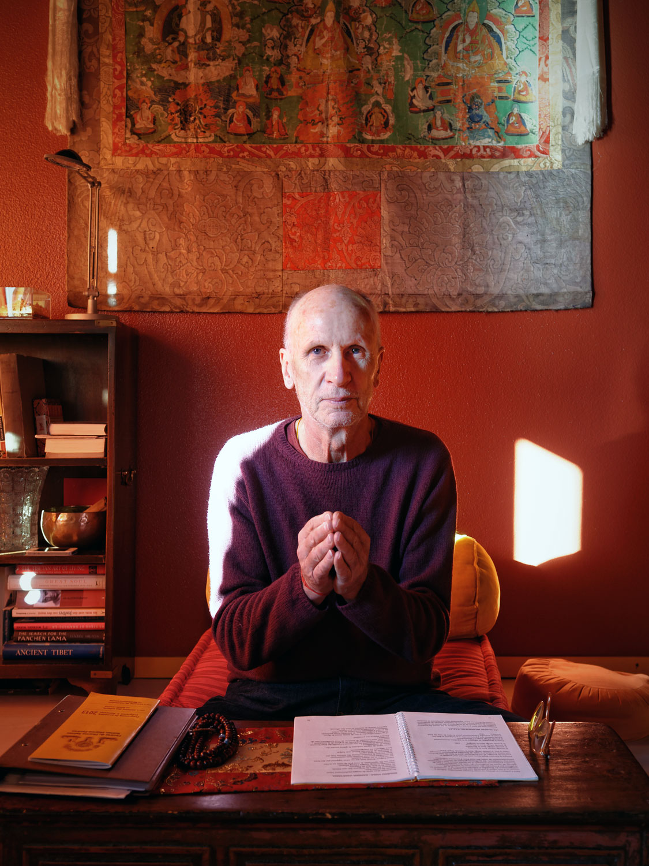 Jean-Paul Dentan, moine du bouddhisme tibétain, Jouxtens, le 27 novembre 2013. Copyright Bertrand Cottet