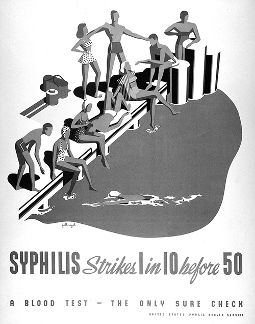 Ten people at a swimming pool, one of whom will be infected with syphilis before the age of fifty. But not necessarily at the pool. And also infection rates may have changed since this poster was published. But still, the lesson is clear: observe the rules of the pools, or get syphilis. Credits: Lithograph after Fellnagel, published by the United States Public Health Service [ca. 1950]. Wellcome Library, London, no. 47637i.