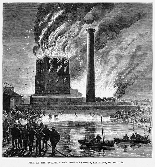 n case you needed further proof of how dangerous sugar can be, behold Fire at the Victoria Sugar Company's works, Sandridge, on 8th June. Published by Ebenezer and David Syme, Melbourne, 12 July 1875. Wood engraving, State Library of Victoria, IAN12/07/75/100.