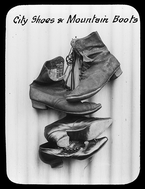 City shoes and mountain boots, Alice Manfield, c. 1900-1930. Glass lantern slide. Source: State Library of Victoria (H2000.92/10). Condition of aglets unknown.