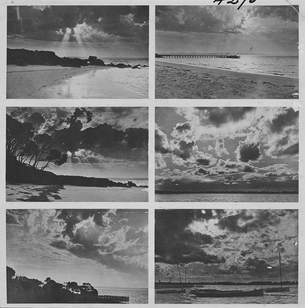 Cloud studies, William Henry Thacker, 1905. Gelatin silver print. Source: The State Library of Victoria, Victorian Patents Office Copyright Collection (H96.160/1294). Note absence of rain, despite presence of sun and clouds.