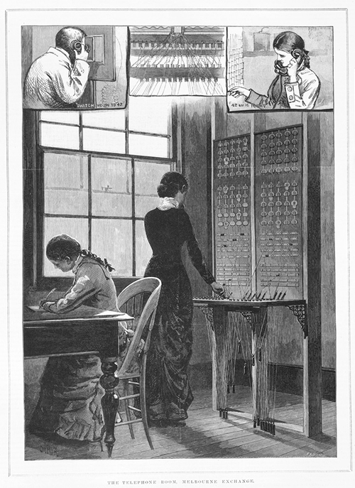 Telephonists of yore took great pleasure in misdirecting the calls of snobby maths teachers.  The telephone room, Melbourne Exchange . Wood engraving by Julian Rossi Ashton 1851-1942. Published by Alfred May and Alfred Martin Ebsworth, Melbourne, January 29, 1881. State Library of Victoria, A/S29/01/81/37.