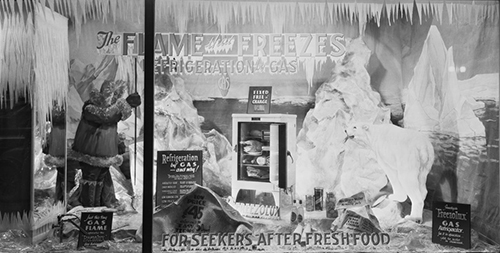 Thinking to save time and effort the Inuit people trained polar bears to respond to ice-box alarms, though not always with the desired results. Fortunately polar bears did not care much for fizzy pop and preserved fruits.  [Showroom windows at the Metropolitan Gas Co., 196 Flinders Street, Melbourne]. Commercial Photographic Co., ca. 1930 - ca. 1939, State Library of Victoria, H2011.52/171.