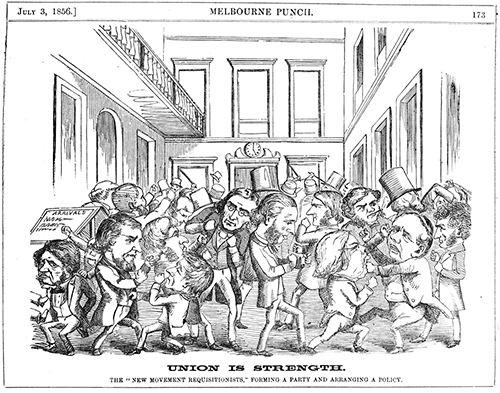 """The Hunger Government would in no way resemble this amusing Punch illustration (fewer beards and top hats).  Union is strength; the """"new movement requisitionists,"""" forming a party and arranging a policy   . Printed and published by Edgar Ray and Frederick Sinnett, Melbourne, 1856. Wood engraving. State Library of Victoria, MP03/07/56/173."""