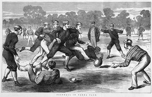 HOLDING ah ya one-eyed ref BALL BALL BALLLLLL (wood engraving, published 13 July 1874 in  The Illustrated Australian News for Home Readers . State Library of Victoria, IAN13/07/74/113).