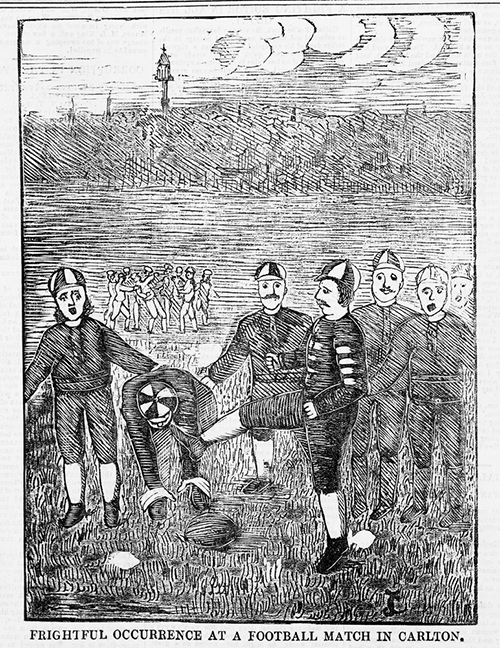 BOOOOO BOOOOO BOOOOO GET HIM OFF (Wood engraving. Shows Melbourne football player named Longden as he is kicked in the head by Carlton Imperial player.  Police News , 5 August 1876. State Library of Victoria, PN05/08/76/00).