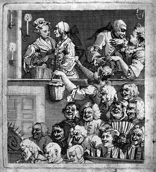 "Hogarth well understood the importance of not paying proper attention to artistic performances. Though referred to by the original publisher as ""the laughing audience"", clearly there is much more going on here. Marriage (or some less formal relationship) is being proposed and rejected in the back row. Without theatres as a venue for covert nookie, who amongst us would even exist? And what better time to discuss the content of a treasure map, while simultaneously selling apples (or possibly buns), than during a performance of Fielding's The Intriguing Chambermaid ? Lastly, the importance of theatres as a hatching ground for various evil schemes may have been overlooked, as evidenced by the expressions of the majority of the audience.  The inside of a theatre and the reactions of different parts of the audience to the unseen play . Etching by W. Hogarth, 1733. Wellcome Library No. 39146i"