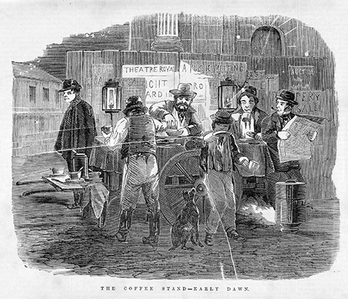 "It is little known that the ""pumpkin spice"" phenomenon first came about as a Halloween ""trick"". This group of men declined to give the shifty gentleman on the left any candy (or a smoke) so in revenge, after distracting them with the cry ""look at the red wagon!"", he has slipped pumpkin spice into the coffee pot. This trick was considered even more heinous than putting dog poo in a paper bag, placing it outside the victim's front door, setting the bag alight, ringing the door bell and then running away.  The coffee stand–early dawn . Wood engraving, published in  The Australian news for home readers  on 24 December 1863, by Ebenezer and David Syme, Melbourne. State Library of Victoria, IAN24/12/63/13."