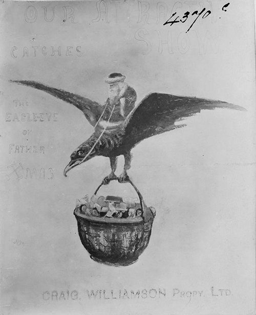 Father Christmas on eagle carrying basket of toys, by Miss M. Scott, 1906. Gelatin silver photograph. State Library of Victoria, H96.160/1334.