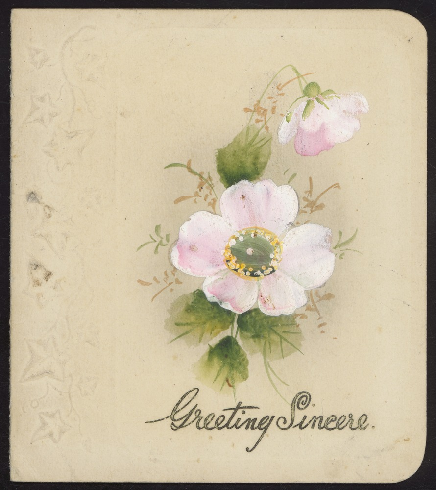Are they really? Really and truly sincere? Do you swear it? Swear it! (This is a hand-painted card so the greetings probably were reasonably sincere).[Christmas card to sister], watercolour on card, painted byCharlie Hammond over a photomechanical print,1946. State Library of Victoria,H90.72/42a.