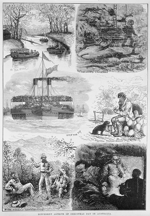 More Australian Christmas traditions: boat-racing, shark-watching, ferry-cramming competitions, telling stories to the dog, pointing at hills (NB pipes are forbidden during Total Fire Bans), festive opium-smoking. 'Different aspects of christmas day in Australia', wood engraving, published in the  Australasian sketcher , December 25, 1875 in Melbourne by Hugh George for Wilson and MacKinnon. State Library of Victoria, A/S25/12/75/149
