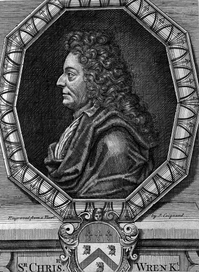 The villainous villain himself. Sir Christopher Wren, engraving by SCoignard, 1750, after MRysbrack.Wellcome Library, London, image no.L0008200,Library referenceICV No 6874.