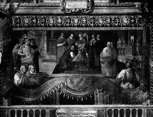Pope Greg XIII, up to no good I'll wager. Ospedale Santo Spirito in Sassia, Rome , published byDitta Vasari Fotografo Editore.Said to be a fresco in the great hall of the Banco Santo Spirito in Rome, featuring Pope Gregary XIII.Wellcome Library, London, image numberV0030917.