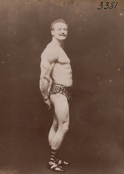 Even supposing Mr Sandow was an author, a biography would clearly be entirely redundant. Eugene Sandow [Prussian bodybuilder]. Albumen photograph by Henry Goldman, 1902. State Library of Victoria, H96.160/708.