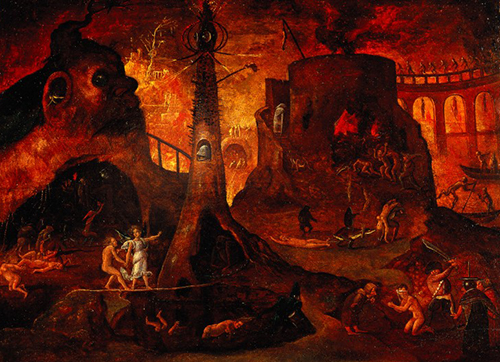 The dark side. Our digital future, in which we bind ourselves to Mammon (aka Google), as it sucks the lifeblood from the world. For ever. [ An angel leading a soul into hell . Oil painting by a follower of Hieronymus Bosch, c 1540. Wellcome Images L0030887]