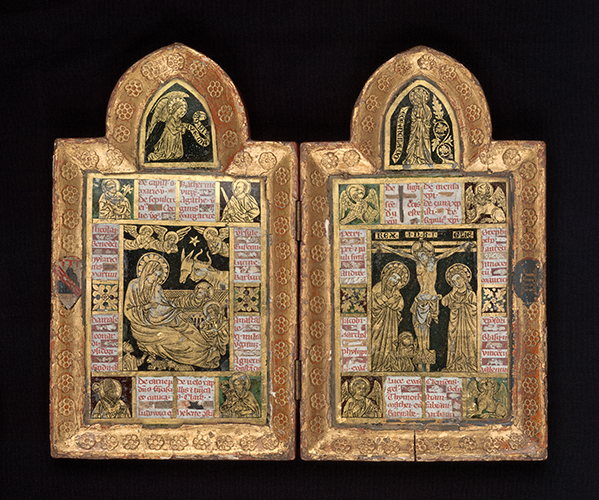 Figure 2:  Nativity and Crucifixion, reliquary diptych , c. 1320, attributed to Pietro Teutonico, Assisi, Umbria, Italy. Glass ( verre églomisé ), wood, (bone). Measurements: 20.3 × 24.4 × 1.8 cm (open). Catalogue Number 3651-D3. Image kindly provided by the National Gallery of Victoria, Melbourne. Felton Bequest, 1936.