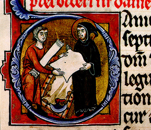 A monastic scribe buying parchment. The lunellarium used to scrape the skins rests at the bottom of the frame. Copenhagen, Royal Library. Ms. 4, 2o f. 183v.