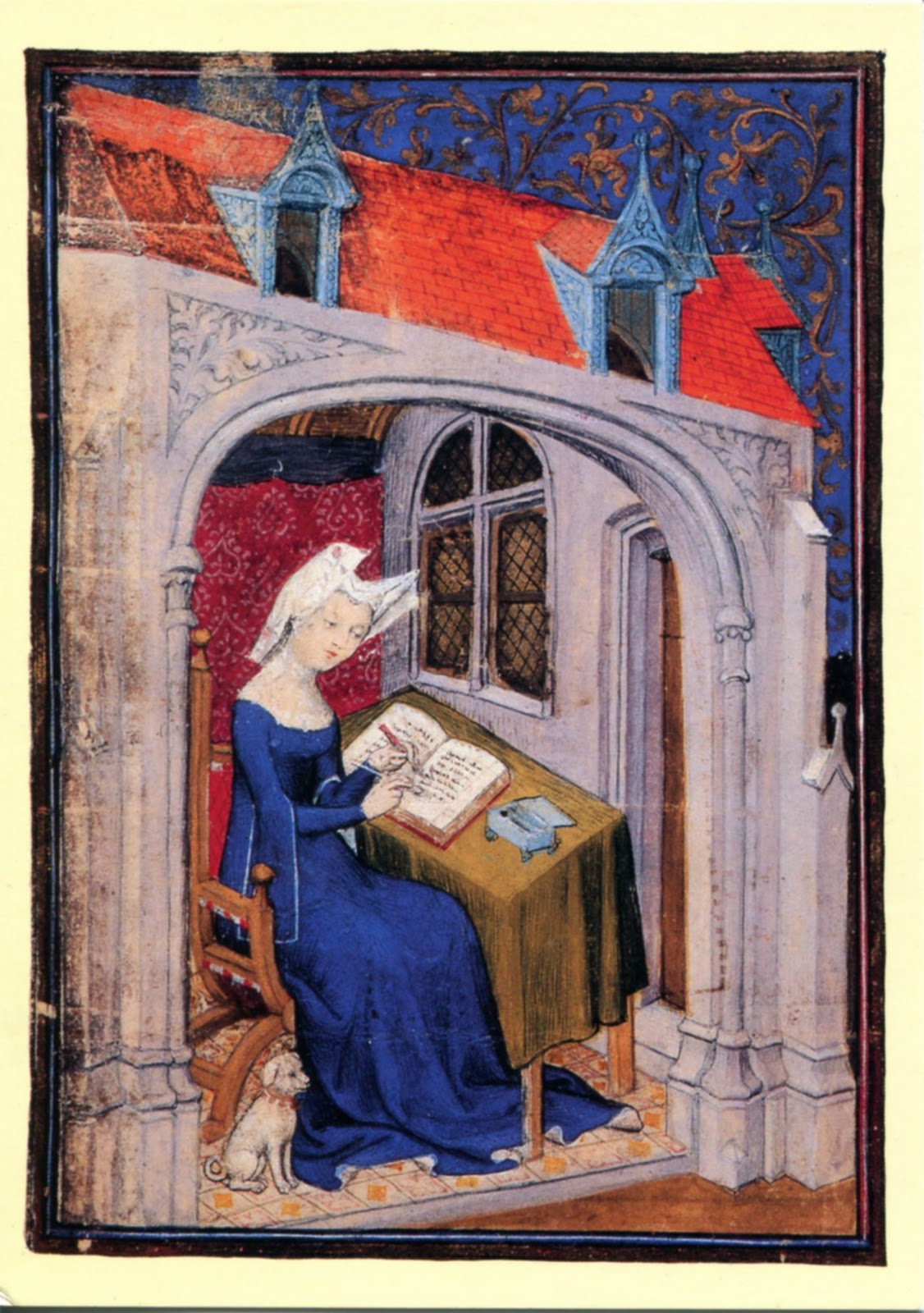 Christine of Pizan writing her book. London, British Library, Harley 4431, f. 4.