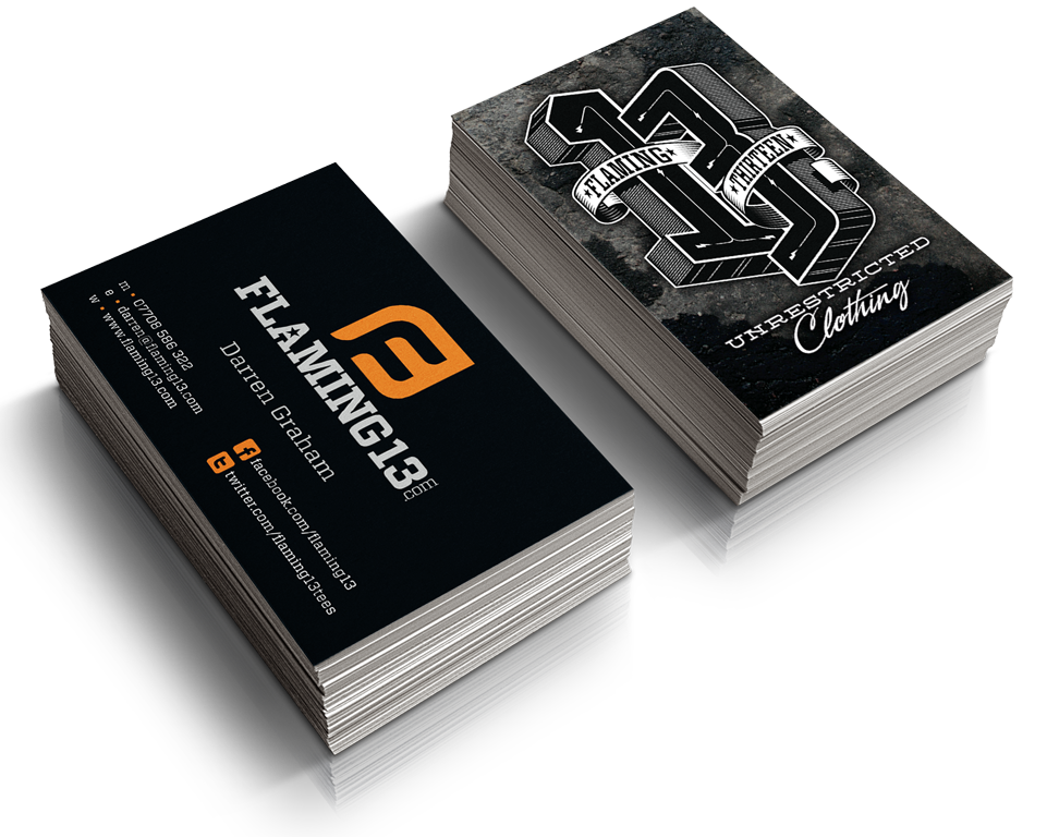Flaming 13 apparel business cards by AD Profile