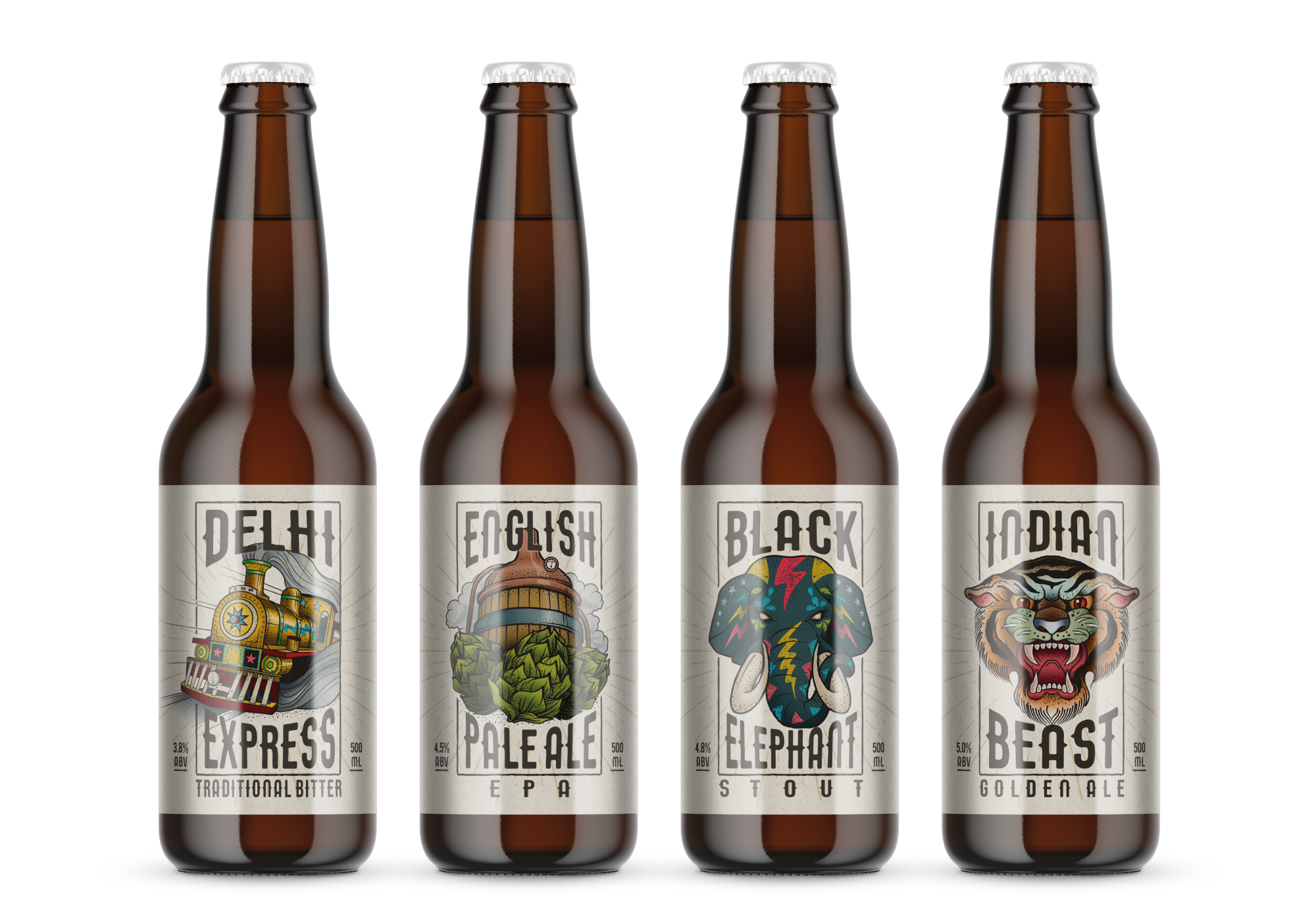 Indian Brewery Bottle designs by AD Profile