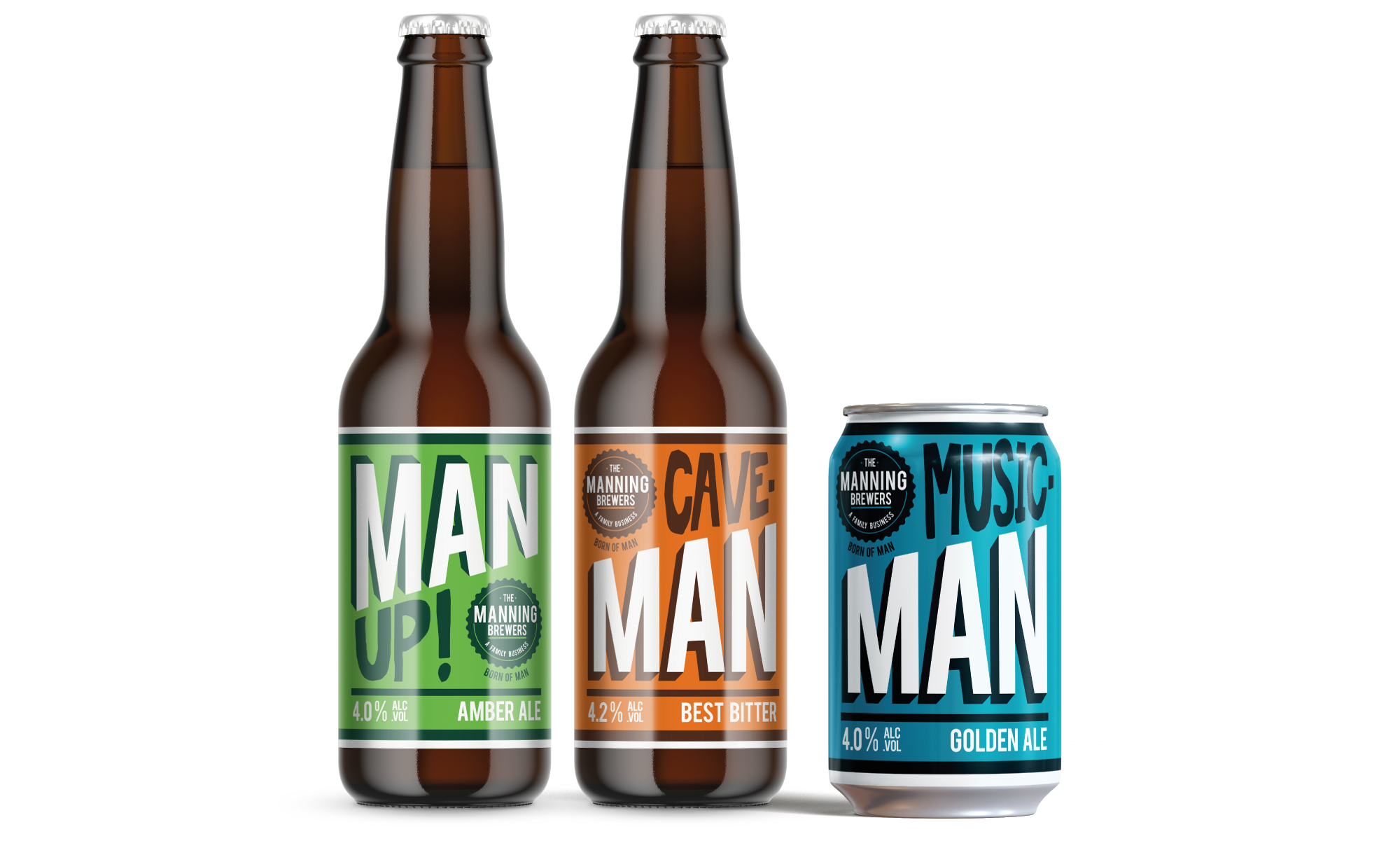 Manning Brewers Bottle and Can artwork design by AD Profile