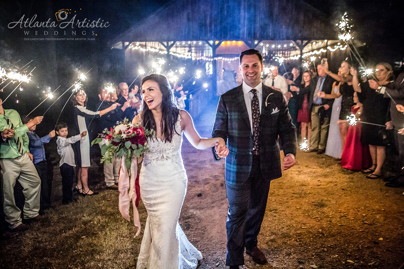 Sparkler exit shot at Rustic Barn by the Atlanta Wedding Photographers at AtlantaArtisticWeddings!