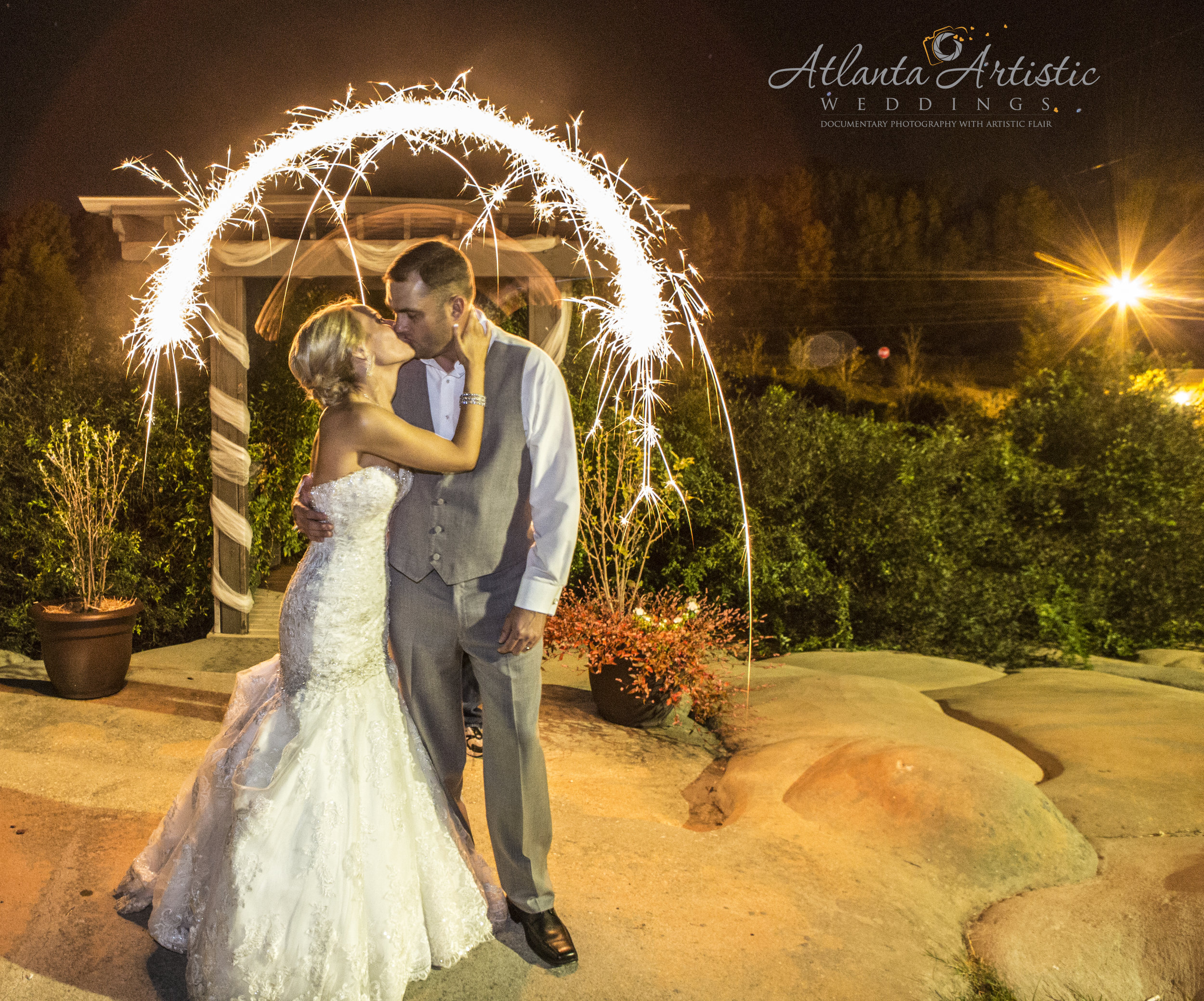 Sparkler Exit by the Atlanta Wedding Photographers at www.AtlantaArtisticWeddings.com