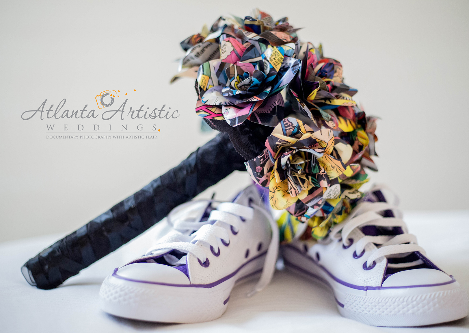 Original Bouquet made with Comic Book Images and the Bride's converse shoes