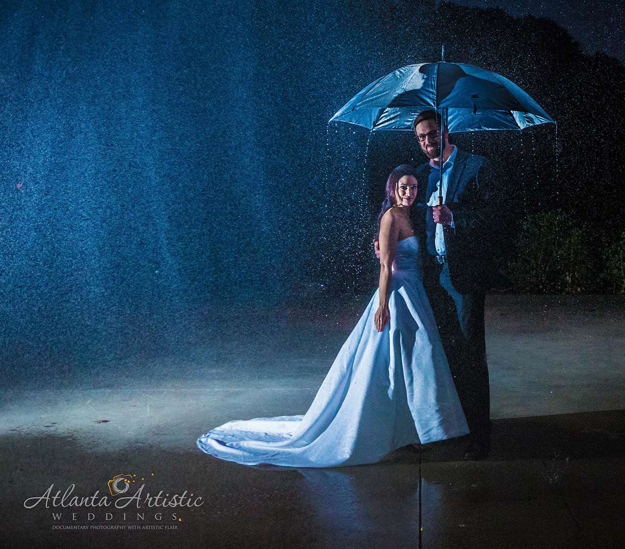 Atlanta Artistic Weddings shots dramatic wedding photography at night