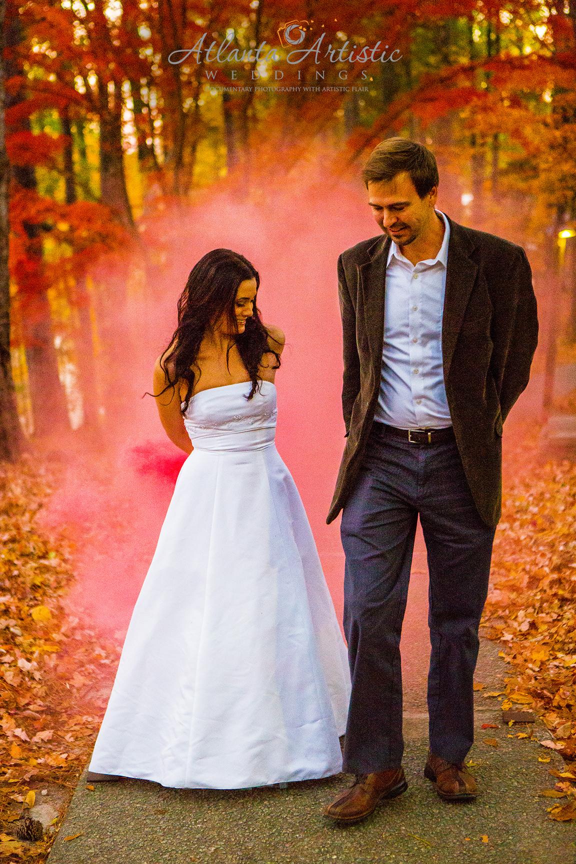 Color Bomb fall wedding photo by the Atlanta Wedding photographers at AtlantaArtisticWeddings