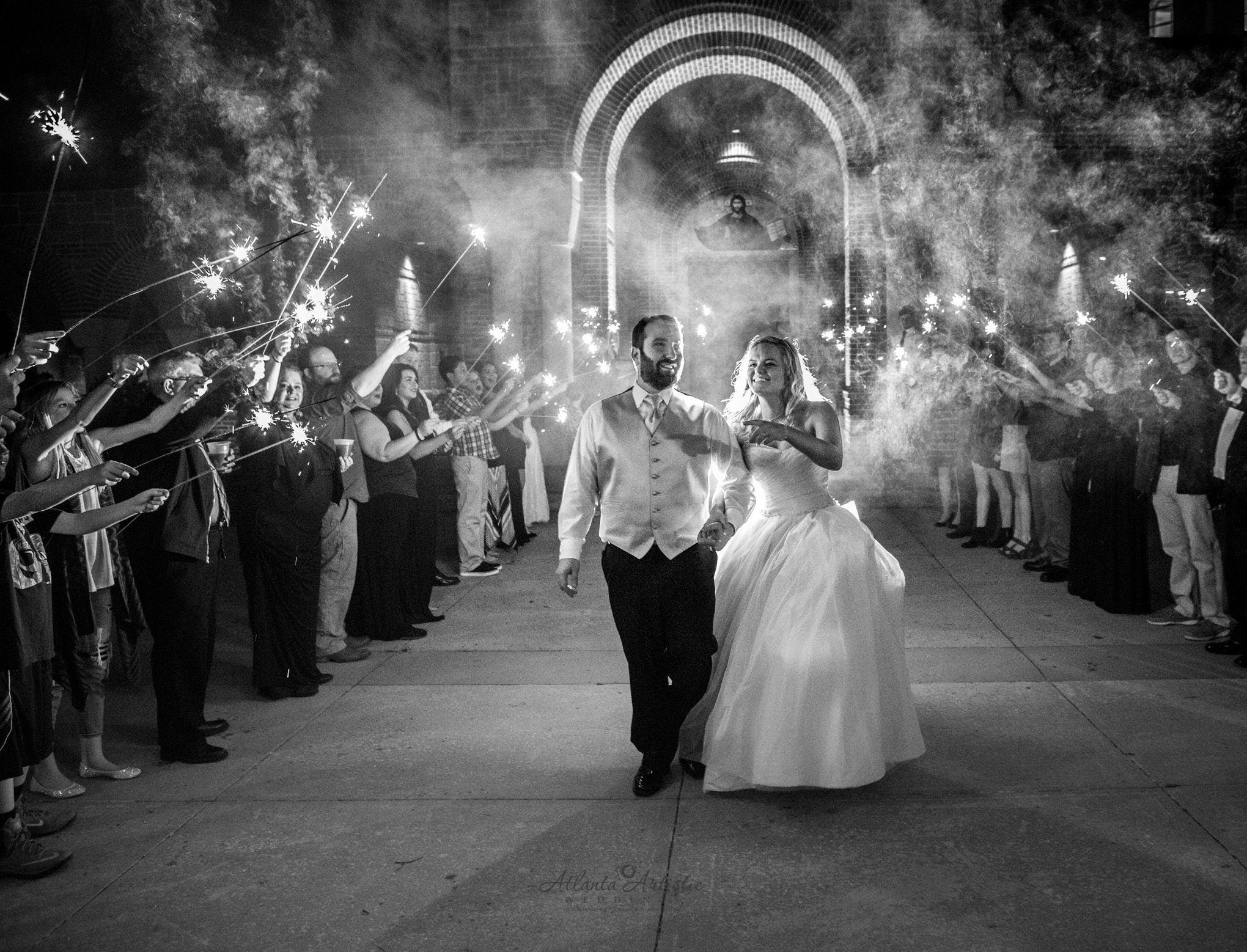 Atlanta wedding photographers capture sparkler exit