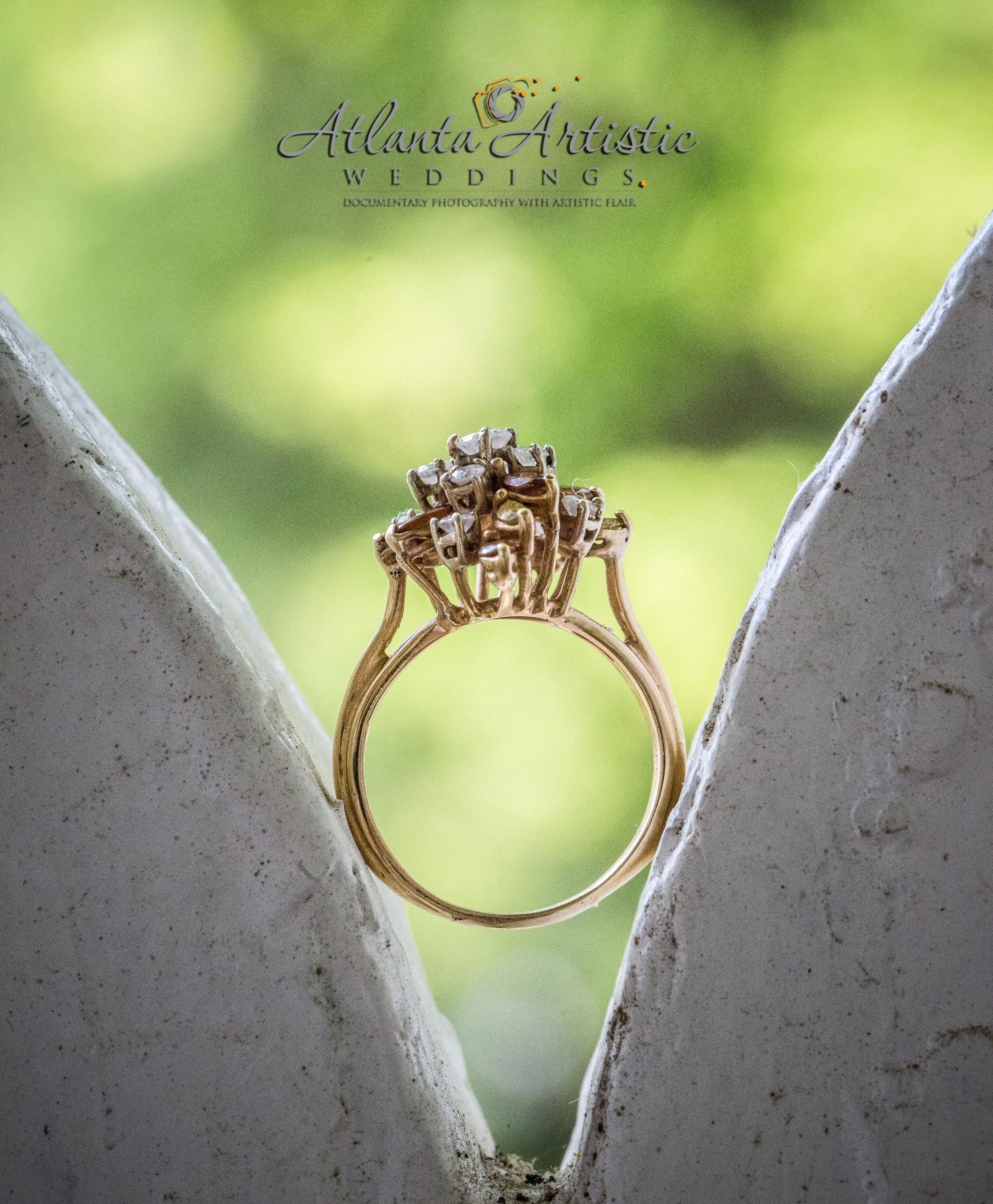 Atlanta Wedding Photographers use Gingerbread Detail of Historic Venue to Display Wedding Rings