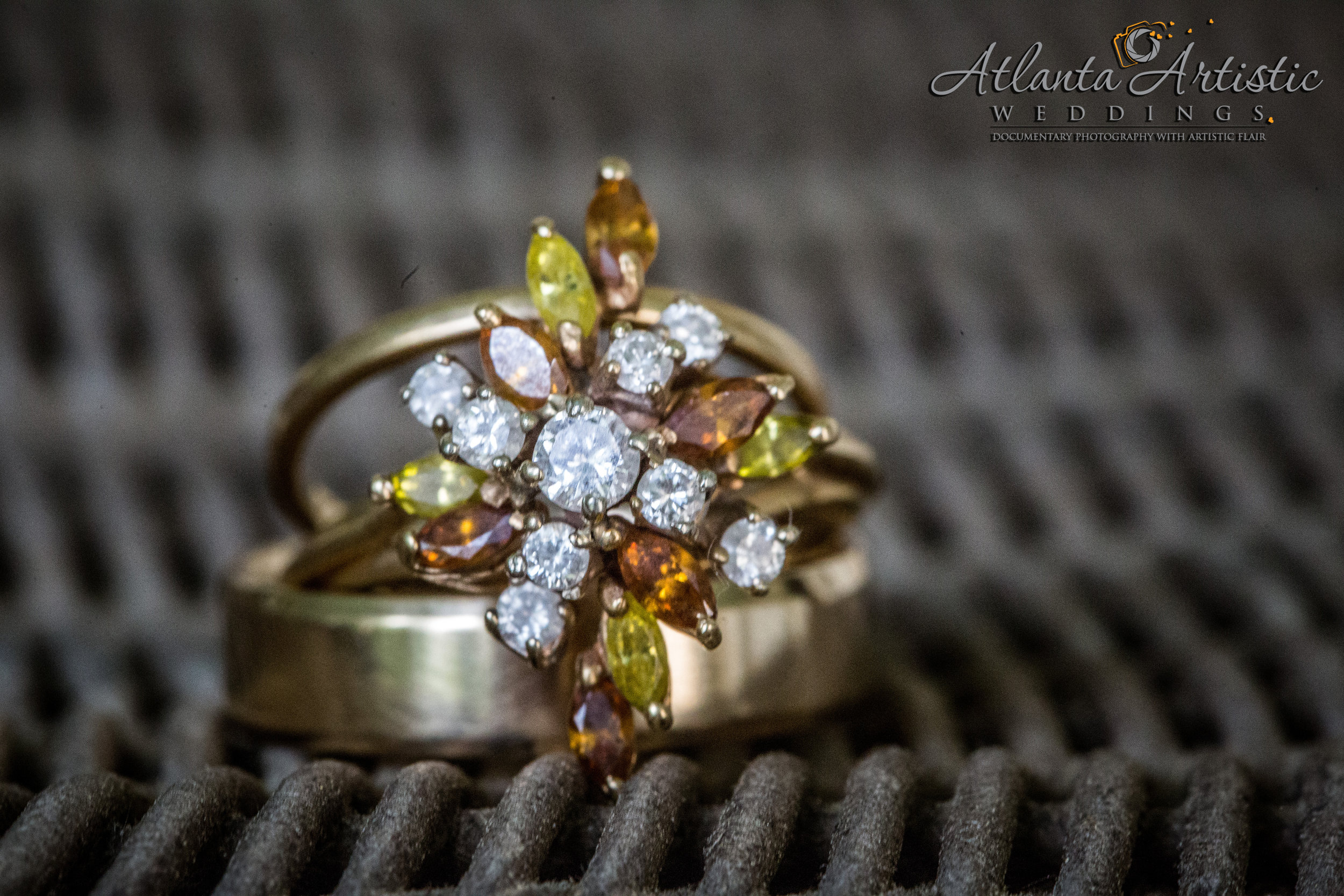 Atlanta Wedding Photographers Use Whicker Basket to Display Wedding Rings