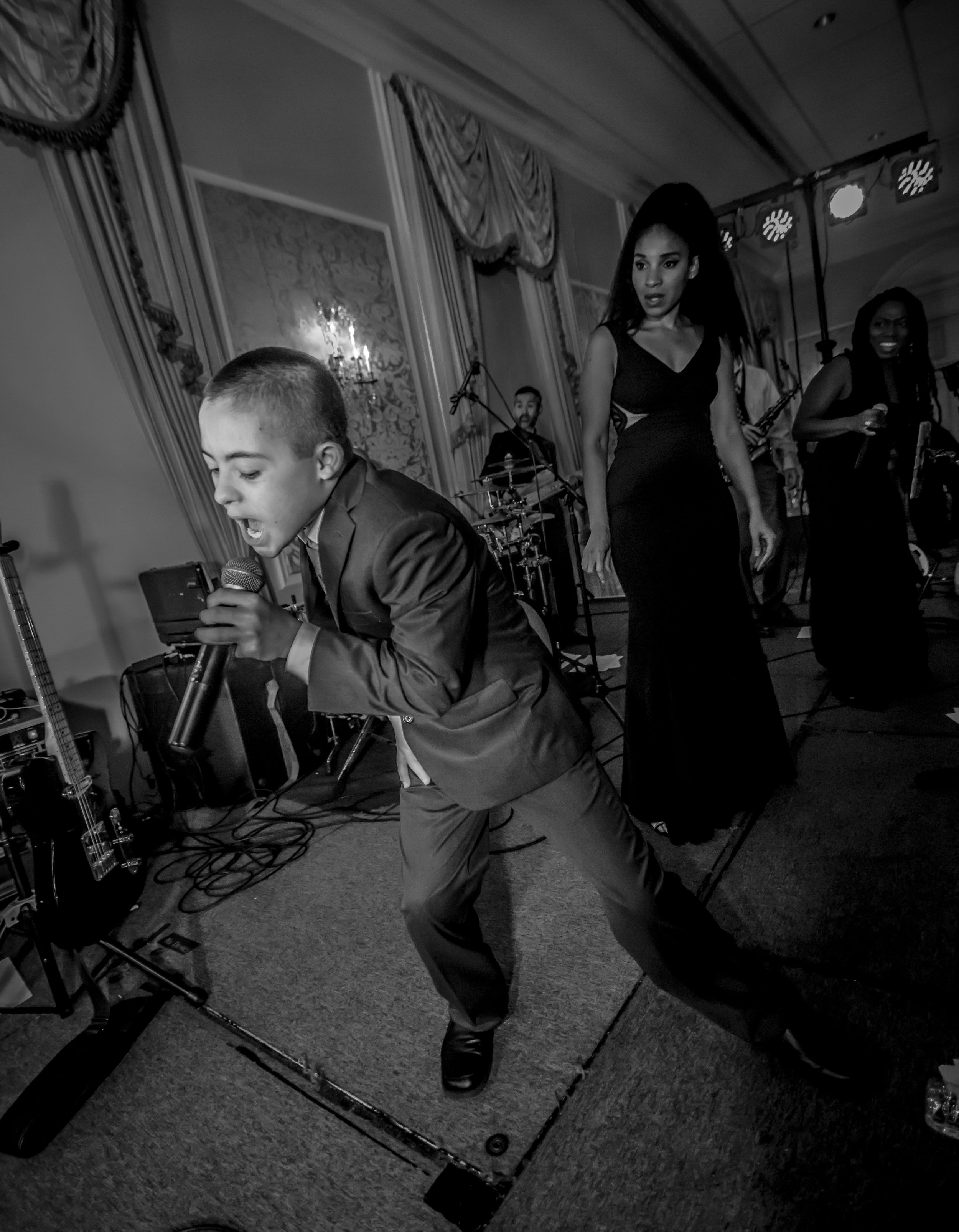 Atlanta wedding photographers capture special guest with the bride and grooms band!