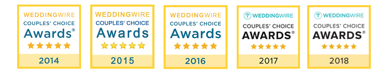 WeddingWires' Couples Choice Award 5 years in a row for wedding photography!
