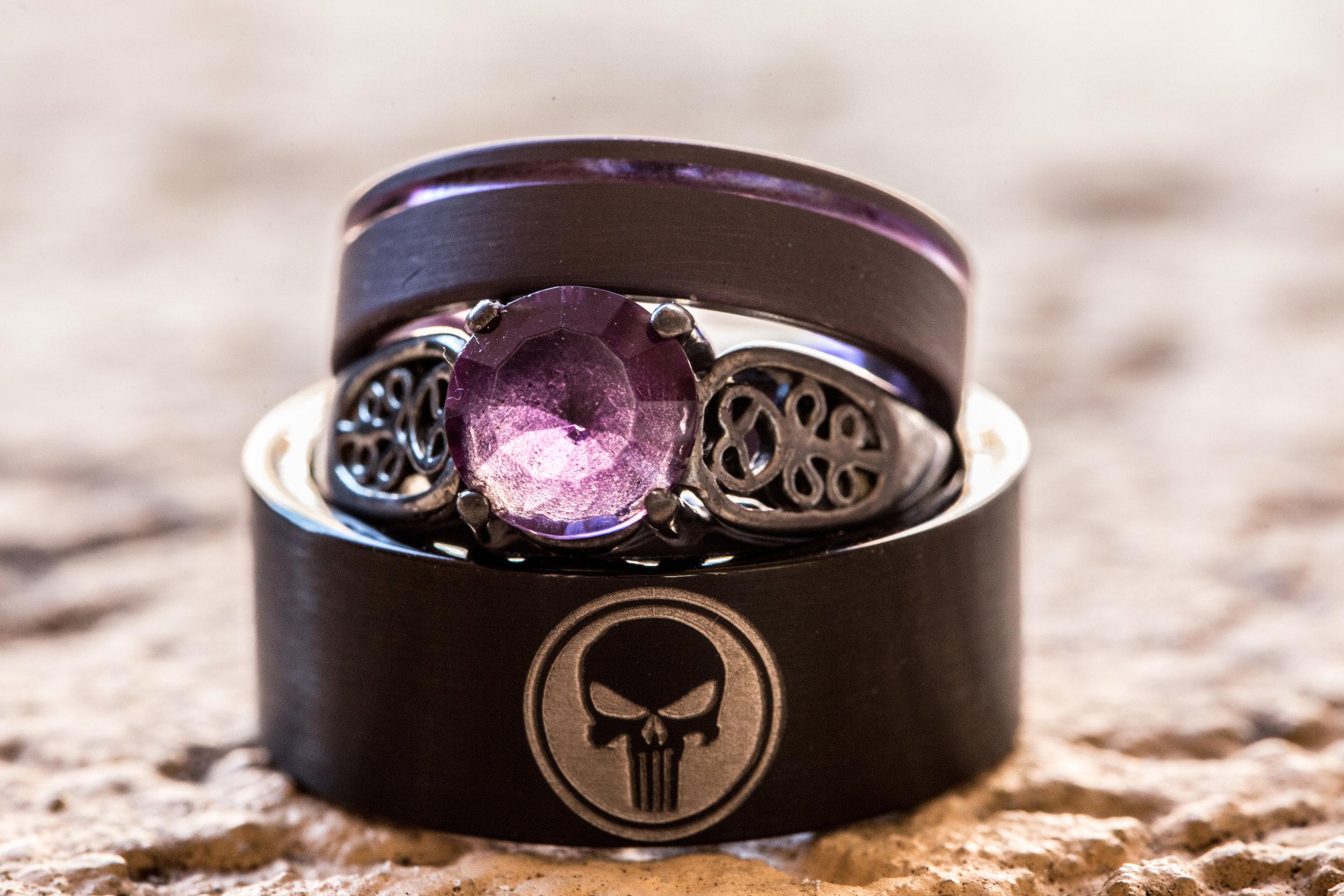 Detail of the punisher wedding rings by the Atlanta Wedding Photographers at AtlantaArtisticWeddings