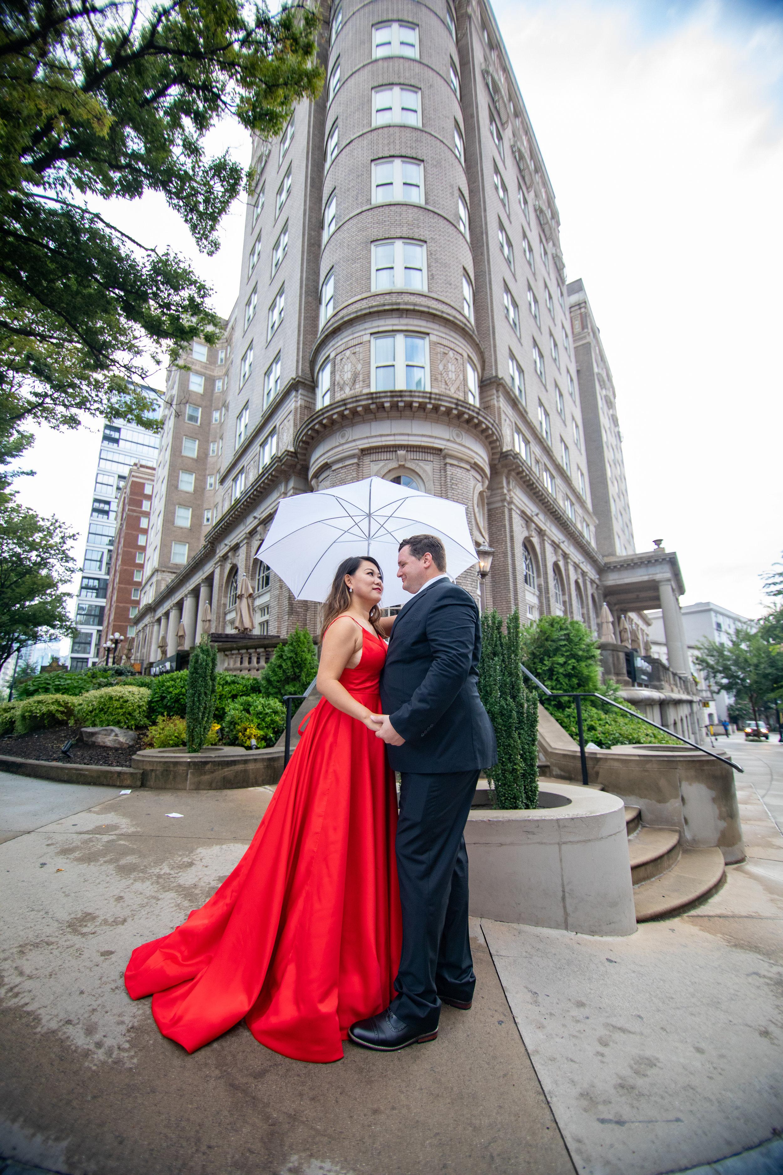 The Historic and elegant Georgian Terrace located at the corner of Ponce de Leon and Peachtree Street captured by the Atlanta wedding photographers at ww.AtlantaAritsicWeddings.com