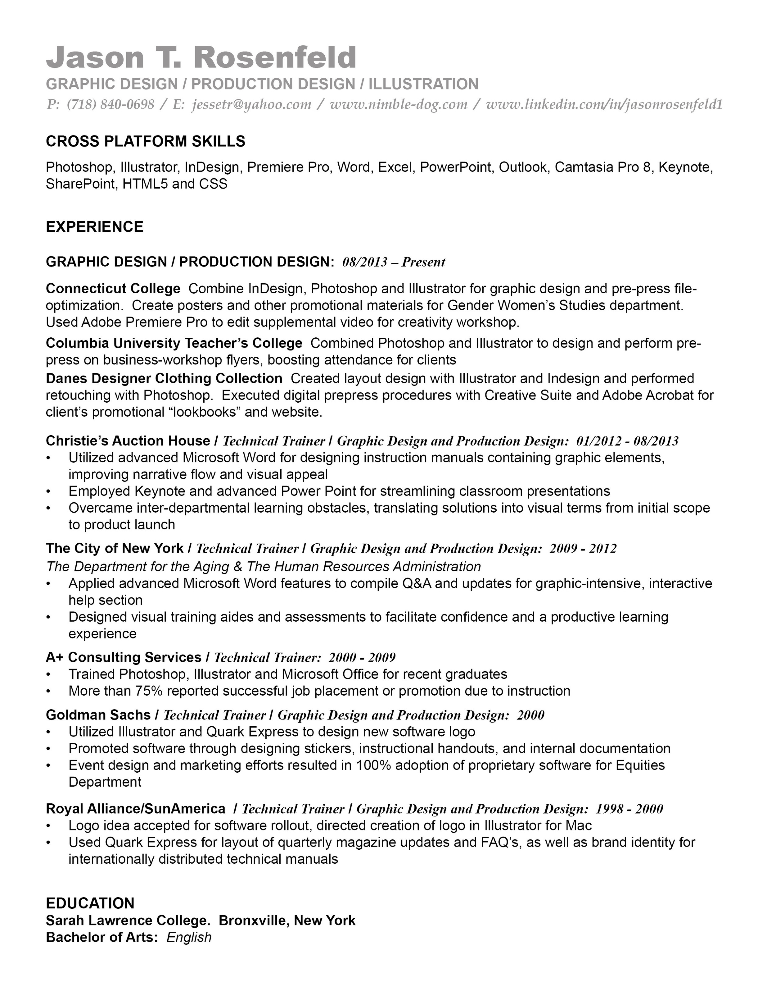 Graphic and Production Design Resume