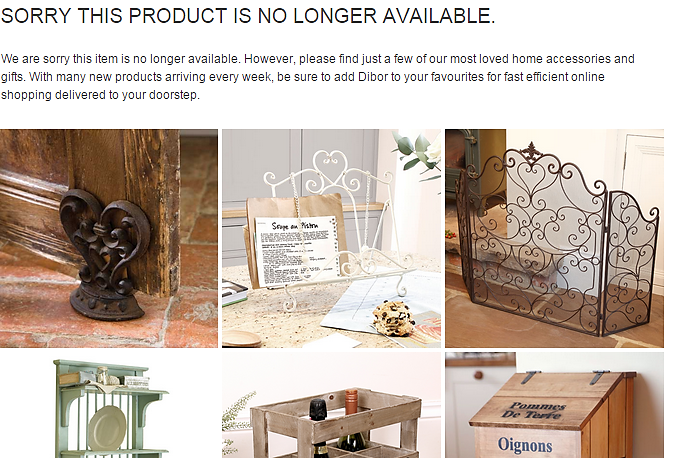 Dibor home accessories redirects users to an out of stock product URL that offers alternative suggestions.