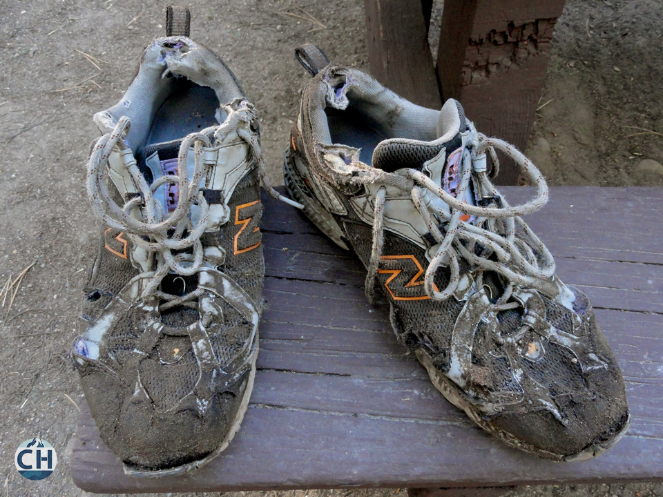 Dave's shoes after 900+ miles on the PCT