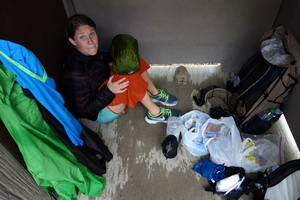seeking shelter in a toilet