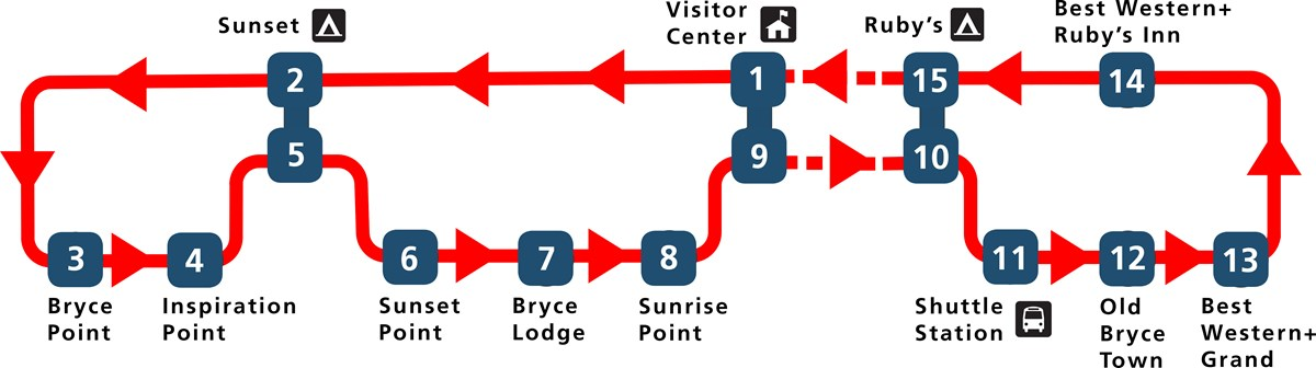 Map of bryce canyon shuttle (not pictured: map of rainbow point shuttle) - provided by www.nps.gov/brca/planyourvisit/shuttle.htm