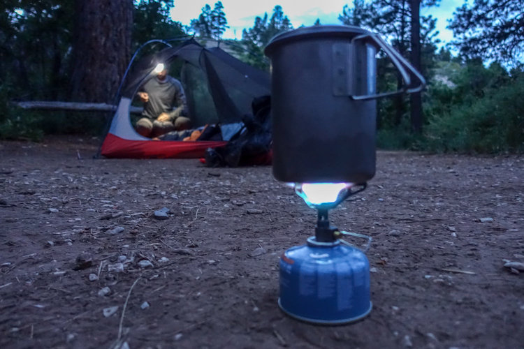 Cooking dinner in the  Snow Peak Mini Solo Cookset  using the  BRS Ultralight Stove