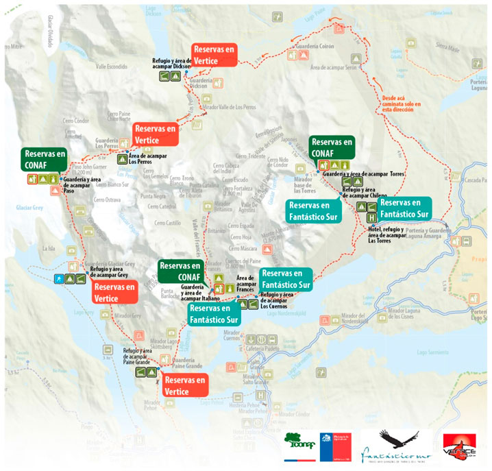 Map of campsites and reservation agency - map from www.parquetorresdelpaine.cl
