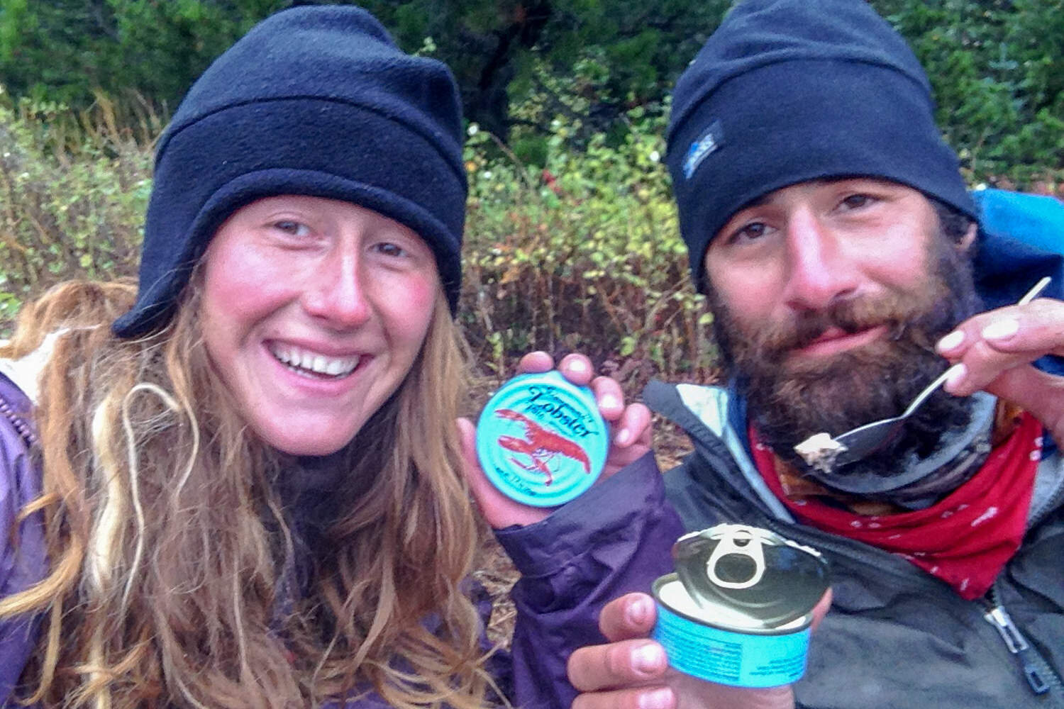 your author, heather, enjoying some canned lobster at the end of her cdt hike!