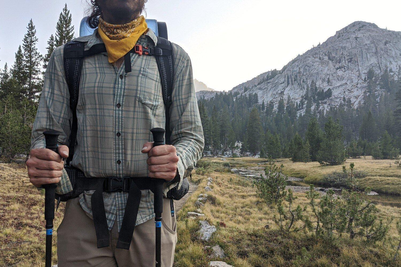 3K Carbon Fiber Walking Sticks Strong Aluminium Lock Lightweight Collapsible Adjustable Comfortable Natural Cork Grips Walking Poles for Hiking Brown Mountain Trekking Poles for Men Women