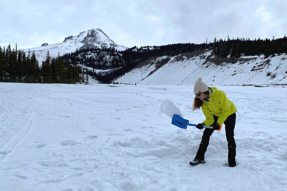 A lightweight shovel, like the Backcountry Access B-1 EXT Bomber, is an essential tool for the winter camp.